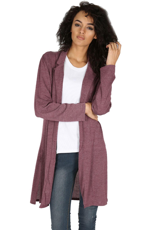 Knitting Cardigan Collar : Womens ladies cardigan knitted side split collar longline