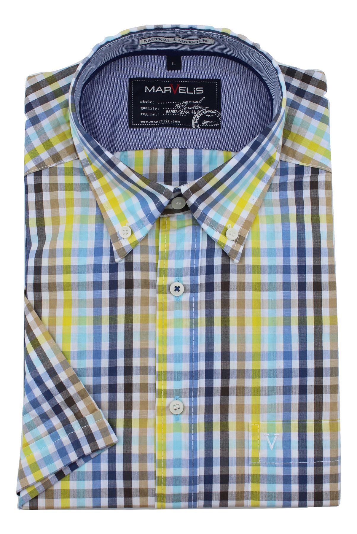 Camisa-Hombre-Marvelis-Corte-Moderno-Algodon-Puro-Easycare-Casual-Manga-Corta