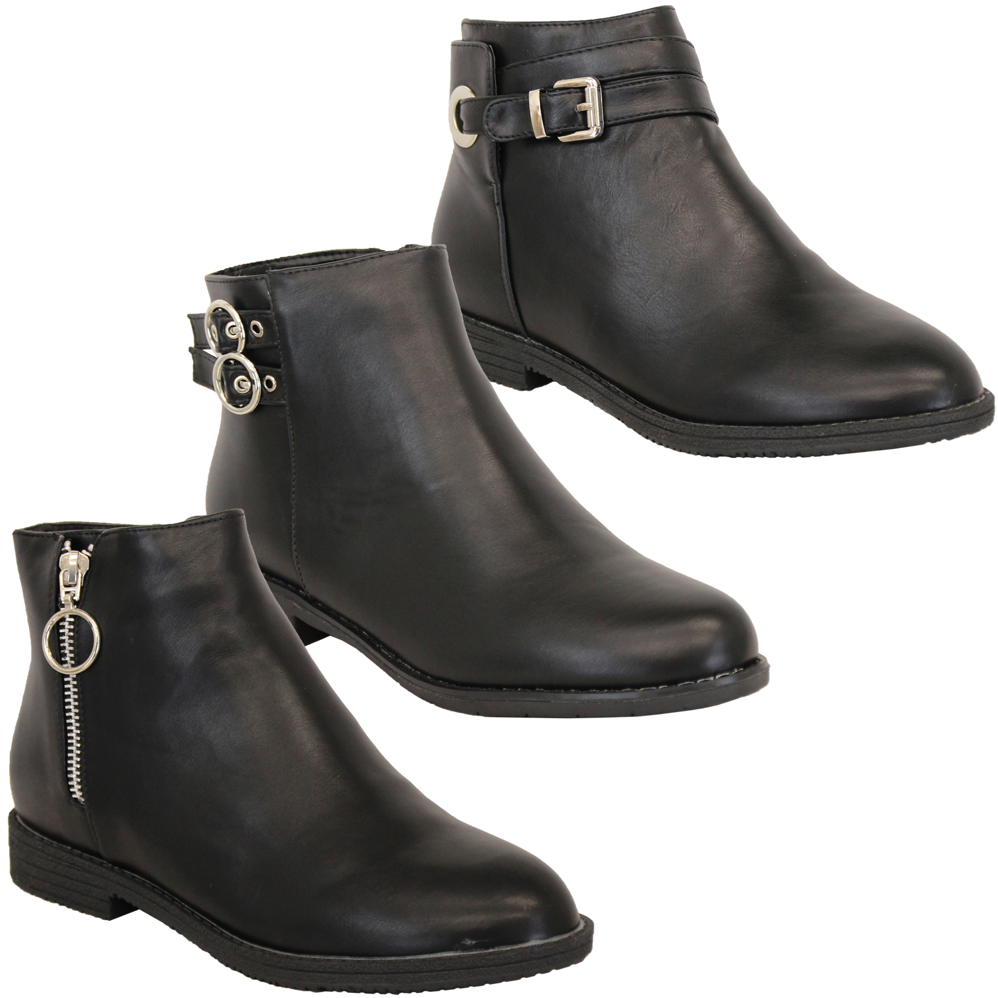 Details about Ladies Chelsea Boots Womens Biker Slip On Ankle Leather Look Shoes Winter New