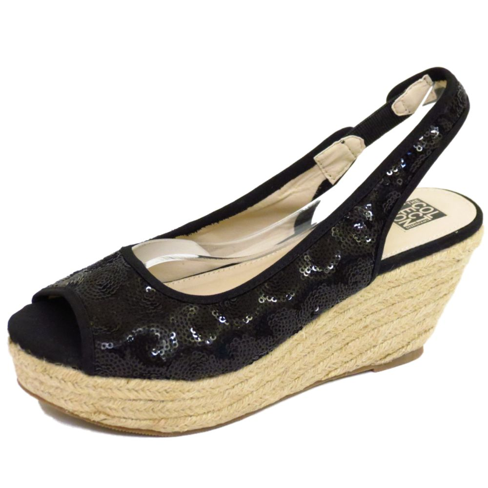 Black Sequin Wedge Shoes