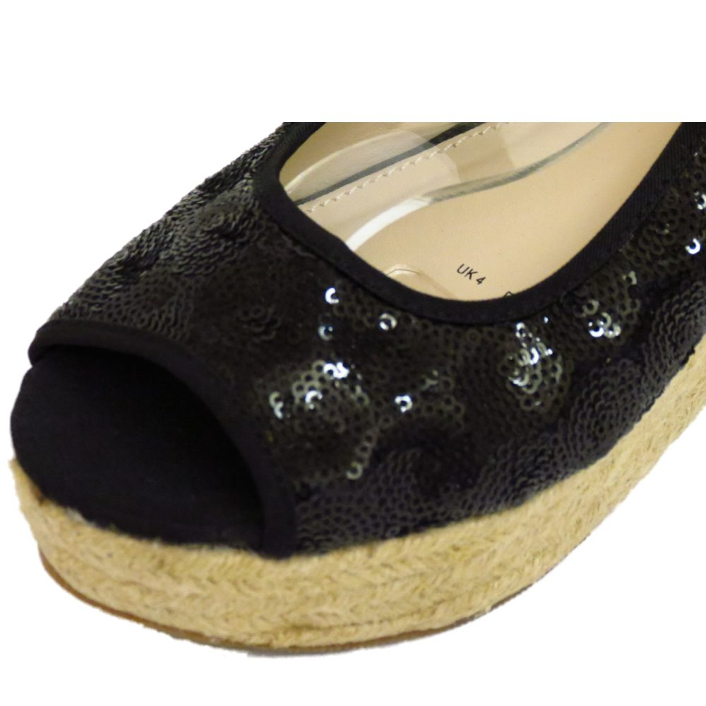 black sequin hessian wedge platform peep toe