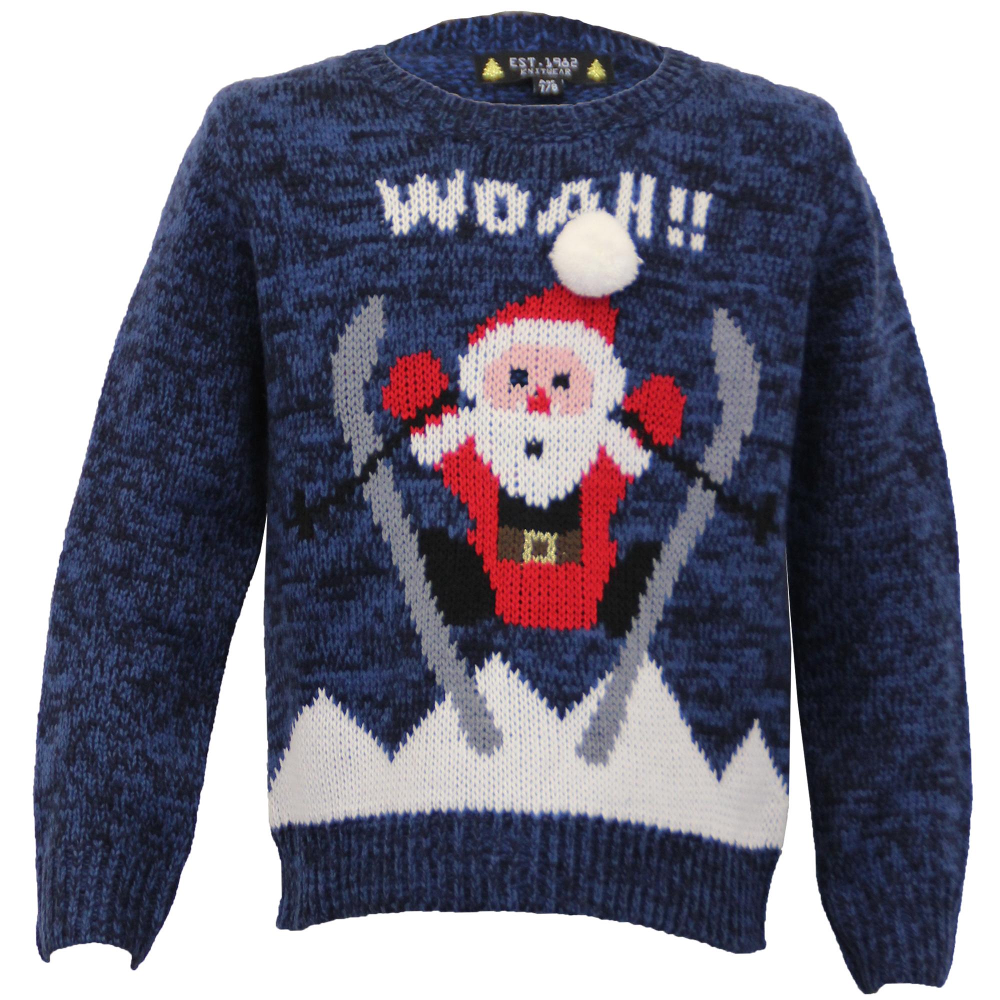 boys christmas jumper xmas kids santa snowman knitted. Black Bedroom Furniture Sets. Home Design Ideas