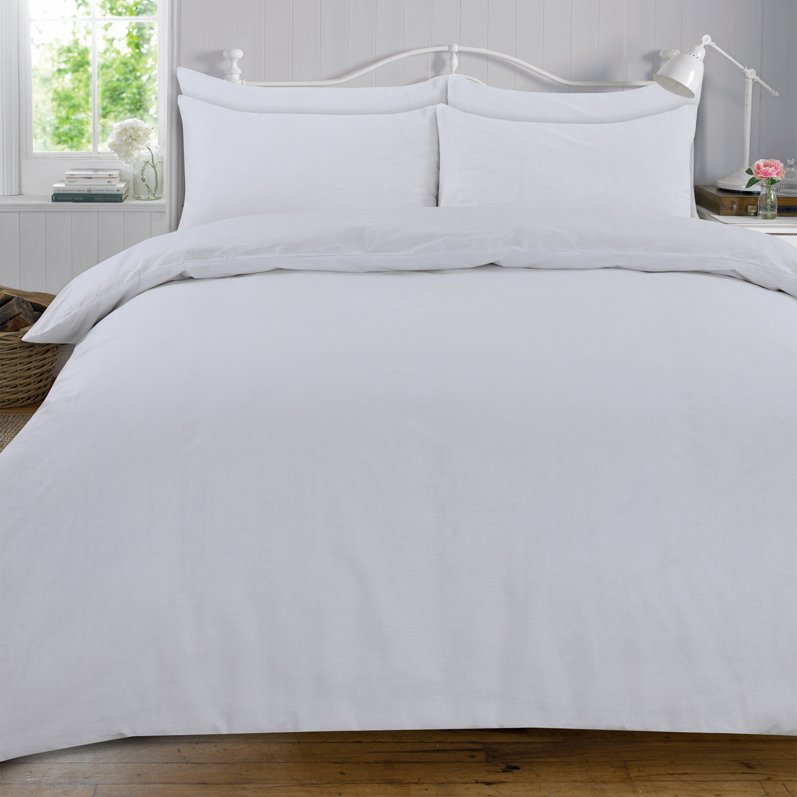 Highams-100-Cotton-Complet-Housse-de-Couette-et-Taie-D-039-Oreiller-Ajuste-Drap