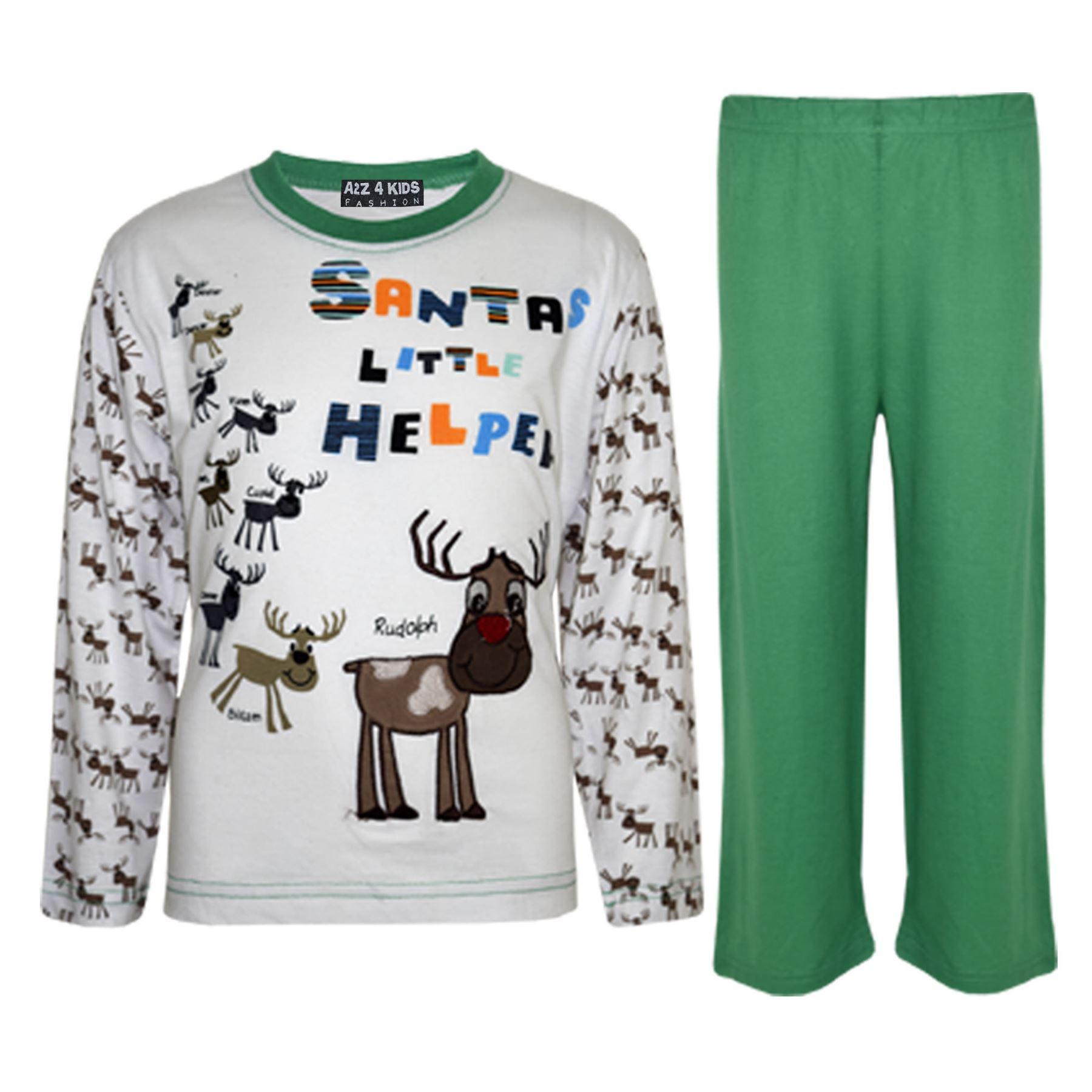 Kids Girls Boys Santas Little Helper Christmas Pyjamas Reindeer ... 75f889288