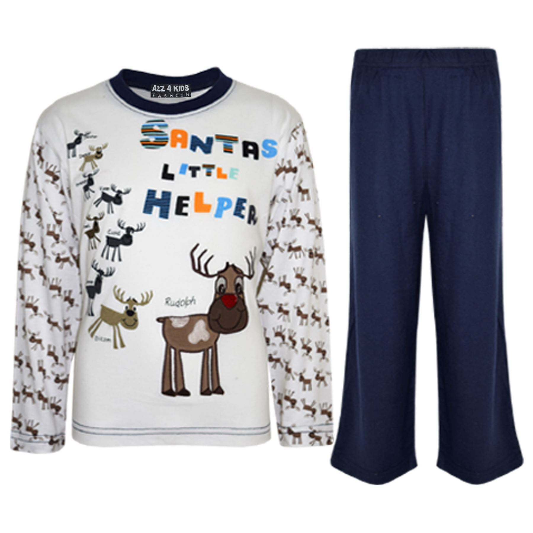 Kids Girls Boys Santas Little Helper Christmas Pyjamas Reindeer ...