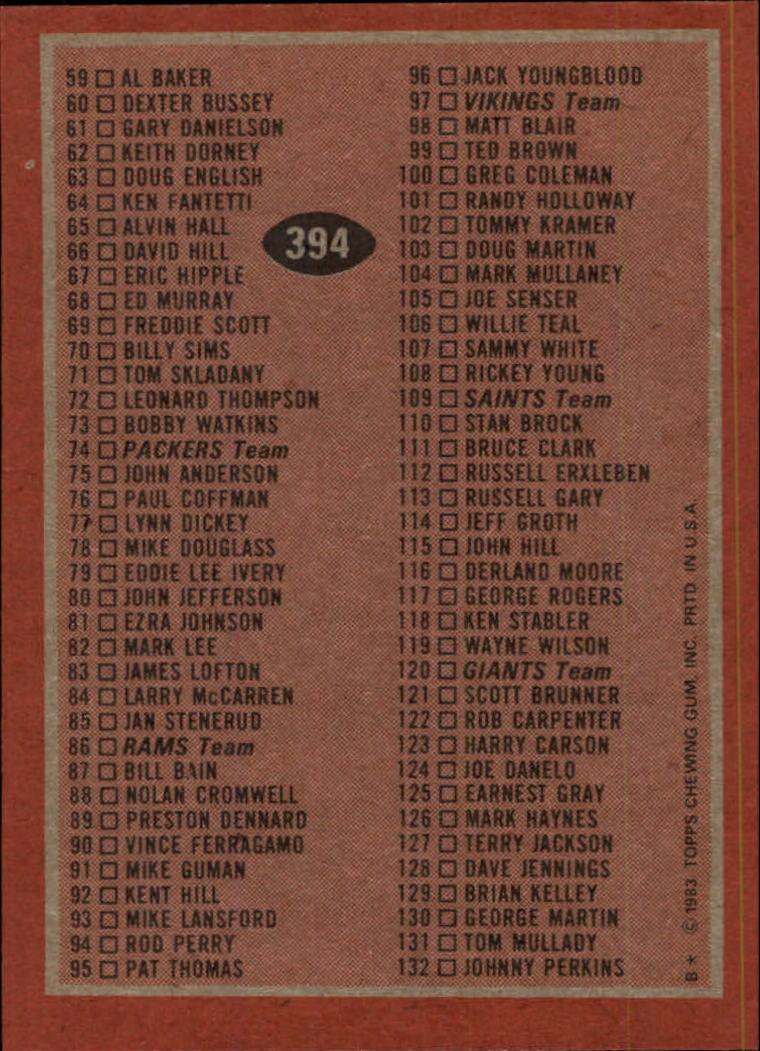 1983-Topps-Football-Card-Pick-147-396 thumbnail 333