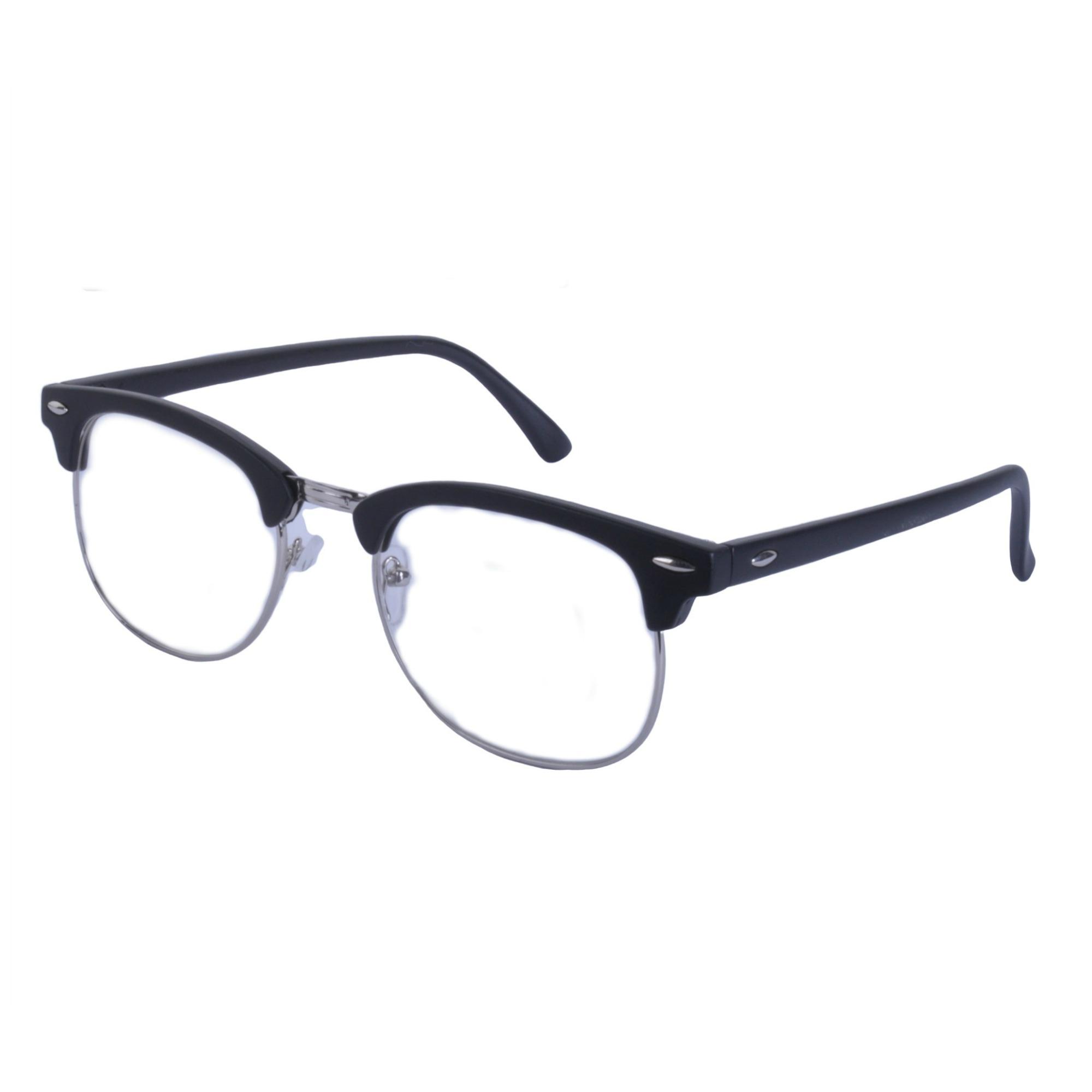 Vintage-Lente-Transparente-Cejas-Barra-Gafas-Gafas-de-Sol-Hron-Borde-Negro miniatura 8