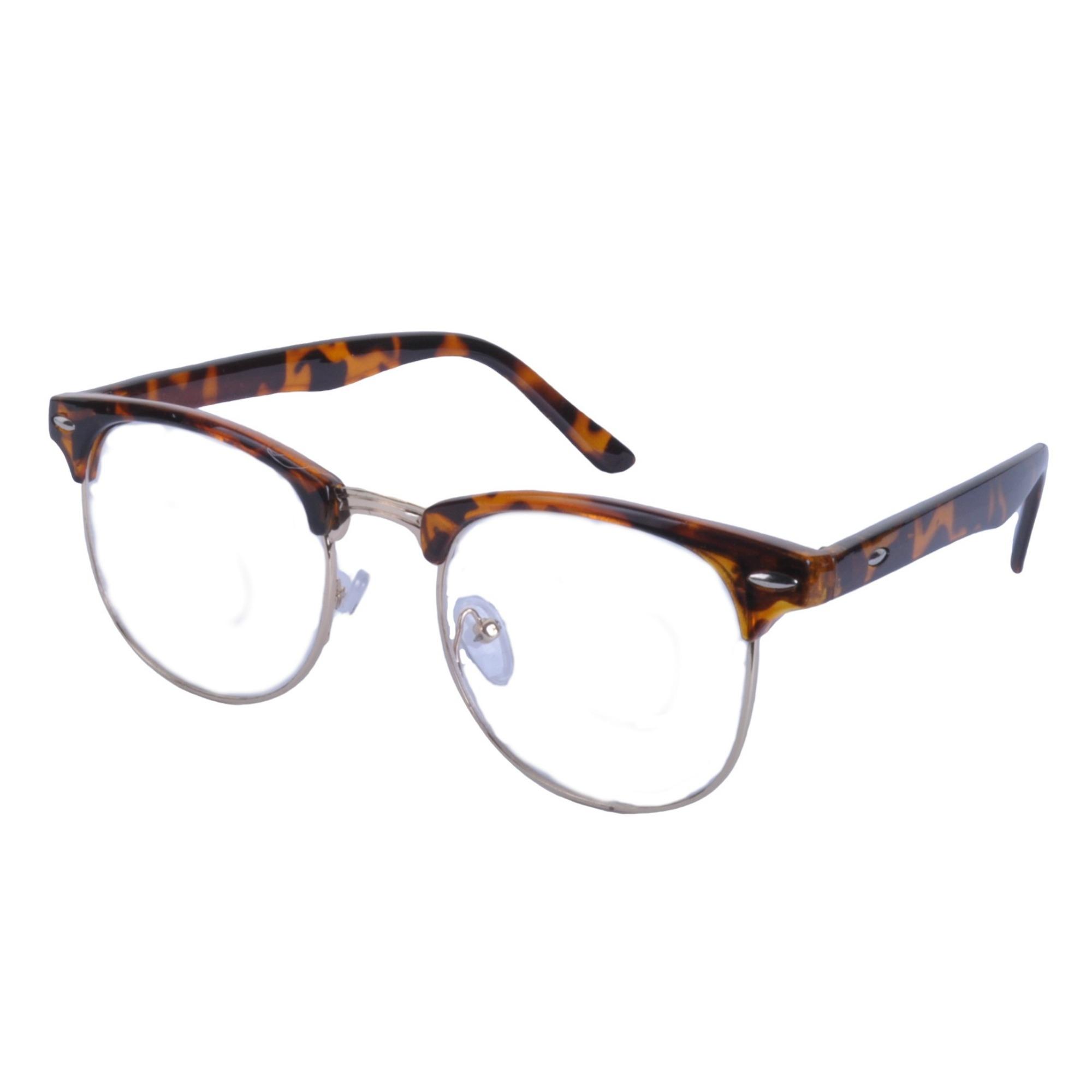 Vintage-Lente-Transparente-Cejas-Barra-Gafas-Gafas-de-Sol-Hron-Borde-Negro miniatura 13