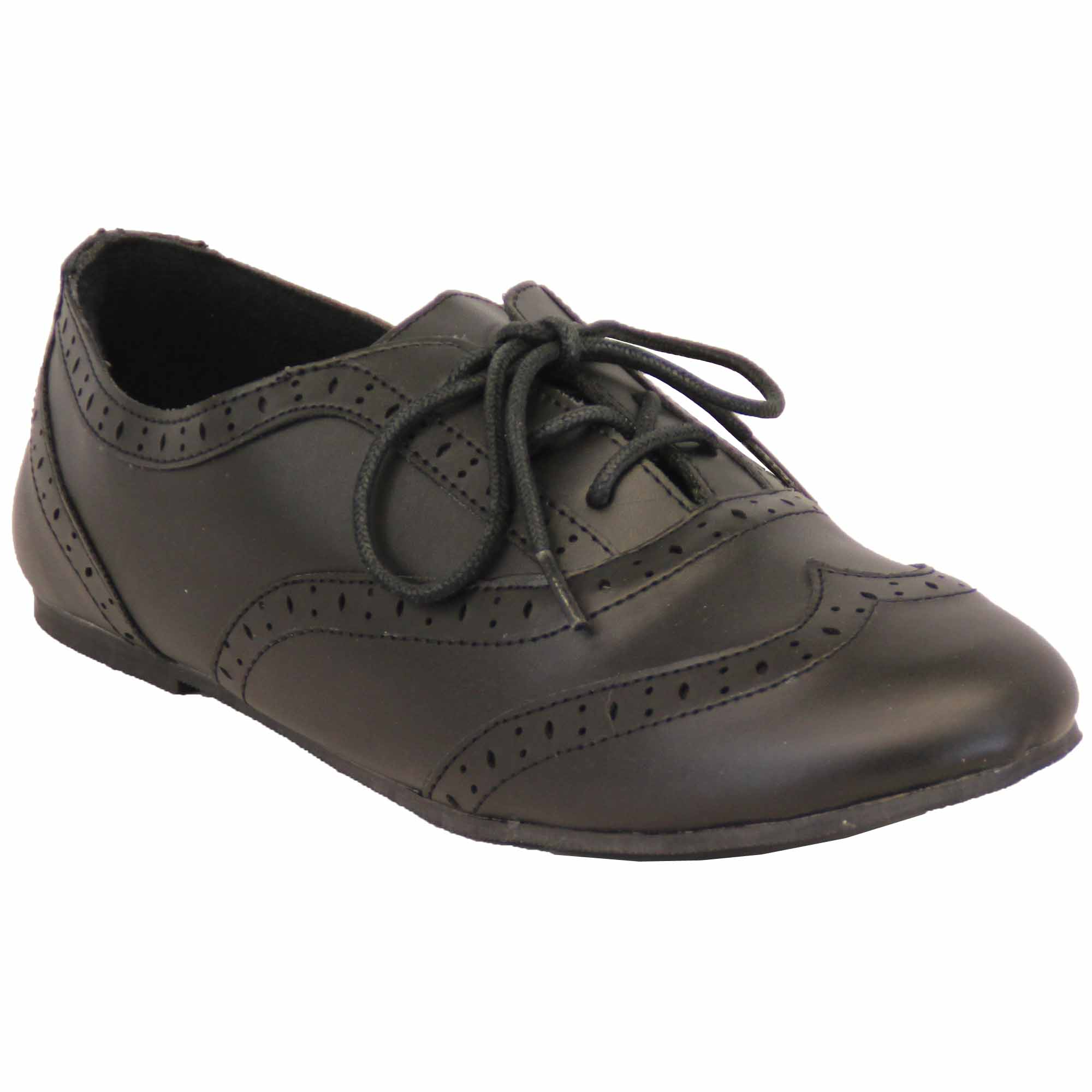 Chaussures-Ecole-Fille-Mat-Richelieu-Mariage-Enfants-Allure-Cuir-Lacet-Plat