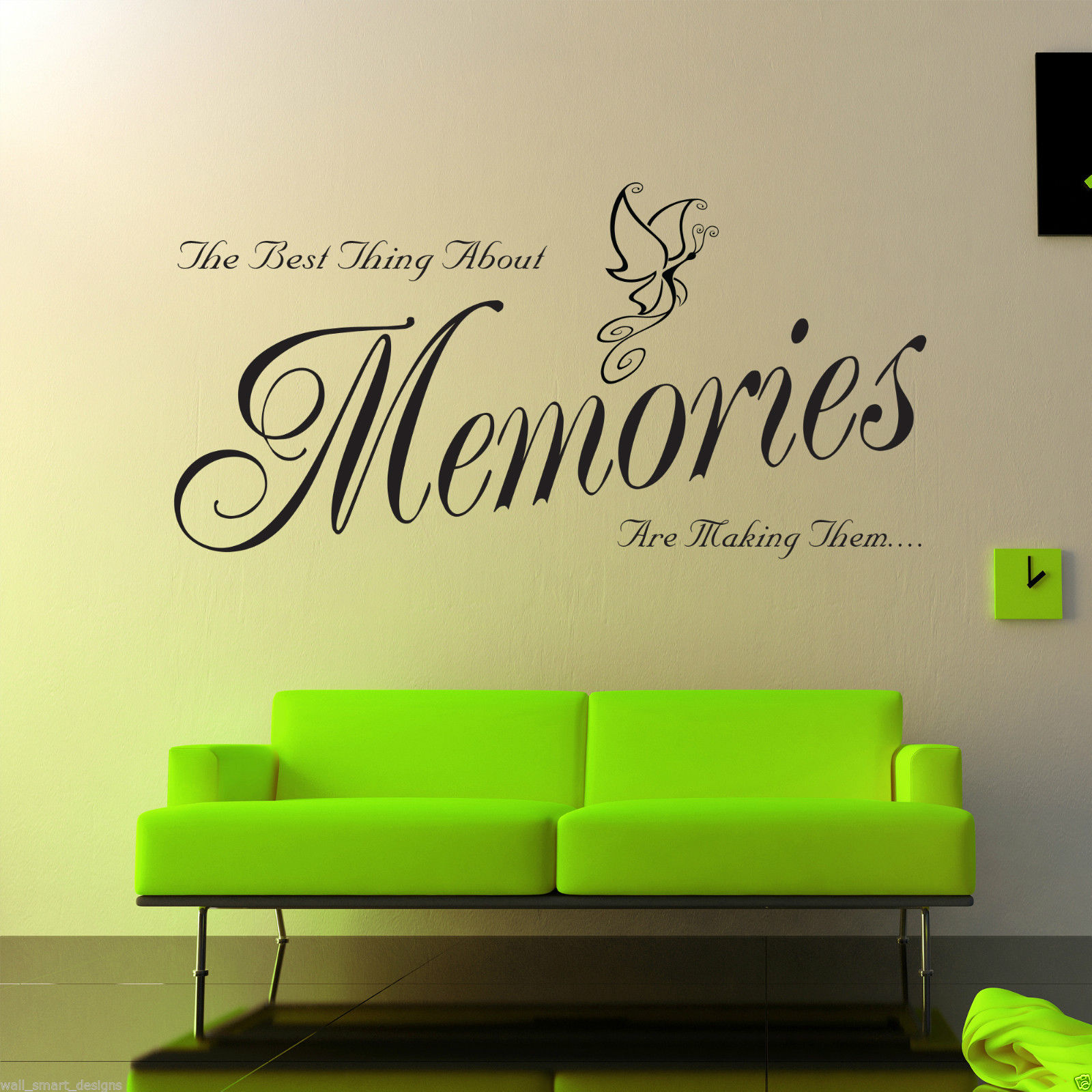 Souvenirs autocollant art mur salon chambre citation sticker mural pochoir - Pochoir mural chambre ...