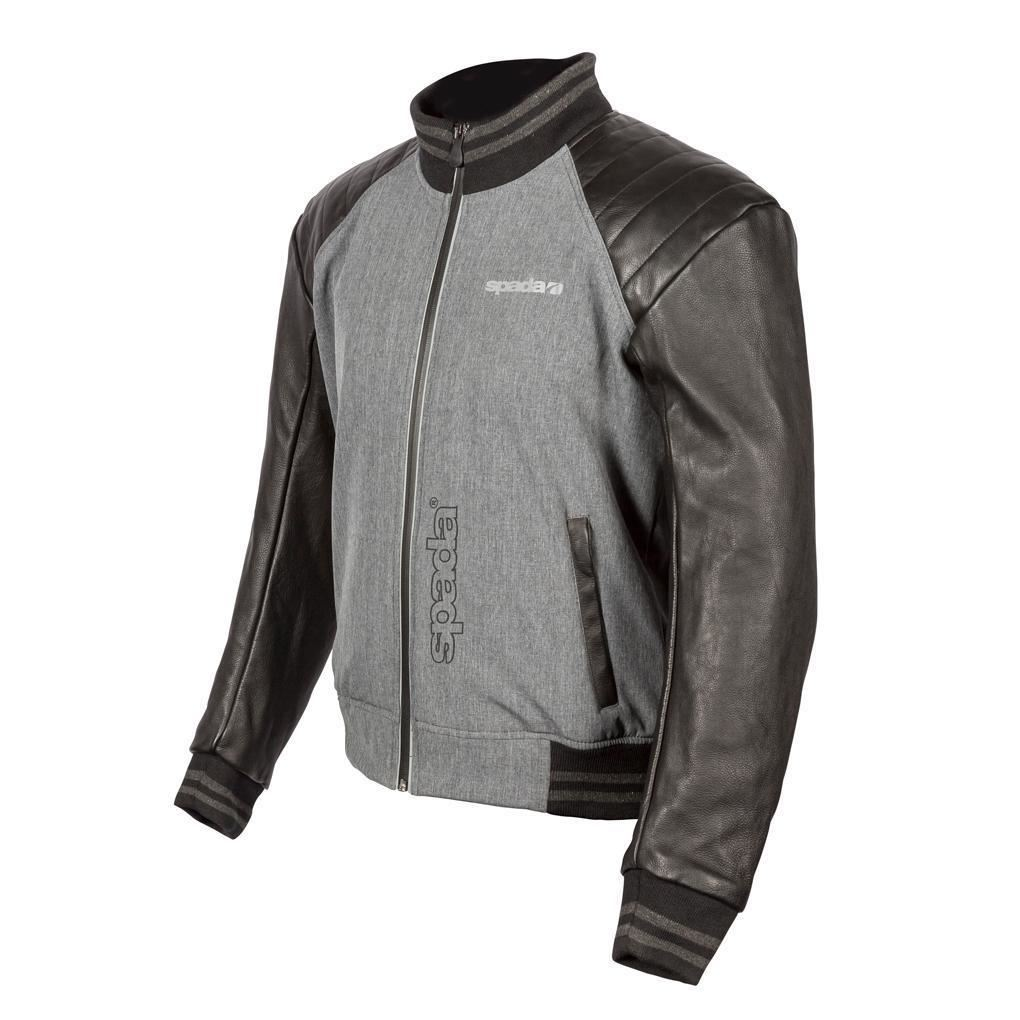 Spada-Campus-Yale-Men-039-s-Motorcycle-Jacket-Grey-Leather-Textile-CE-Armour-Summer miniature 11