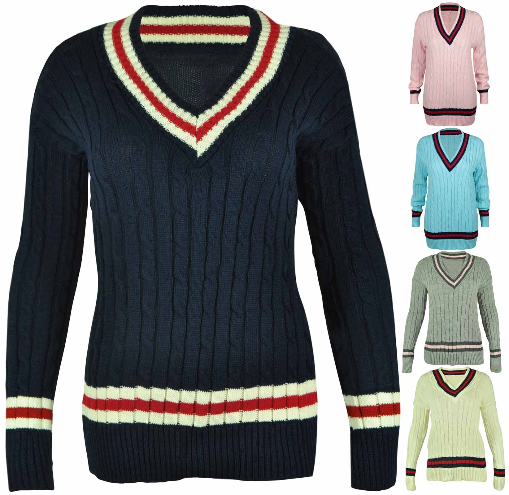 Knitting Pattern Ladies V Neck Jumper : NEW LADIES V NECK CABLE KNITTED CRICKET JUMPER WOMENS STRETCH LONG TOP SIZE 8-16