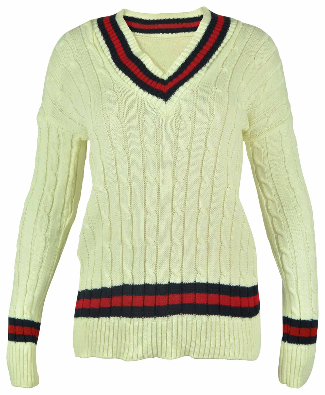Knitting Pattern For Cricket Sweater : NEW LADIES V NECK CABLE KNITTED CRICKET JUMPER WOMENS STRETCH LONG TOP SIZE 8-16