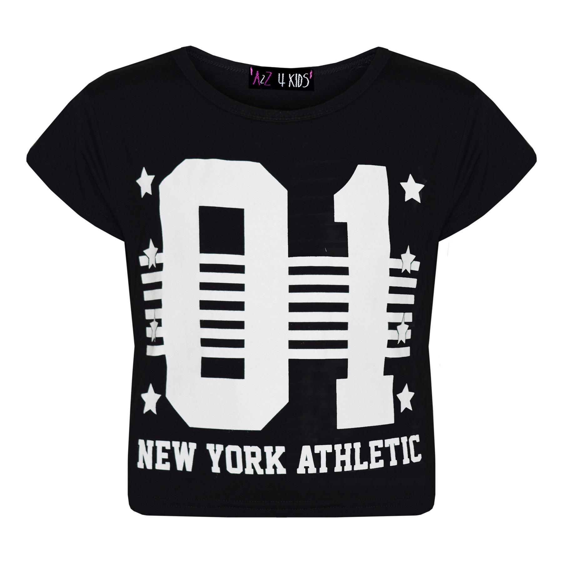 Mädchen Oberteile 01 Stylisch Kinder Aufdruck York New Athletic 5jA3RqcS4L