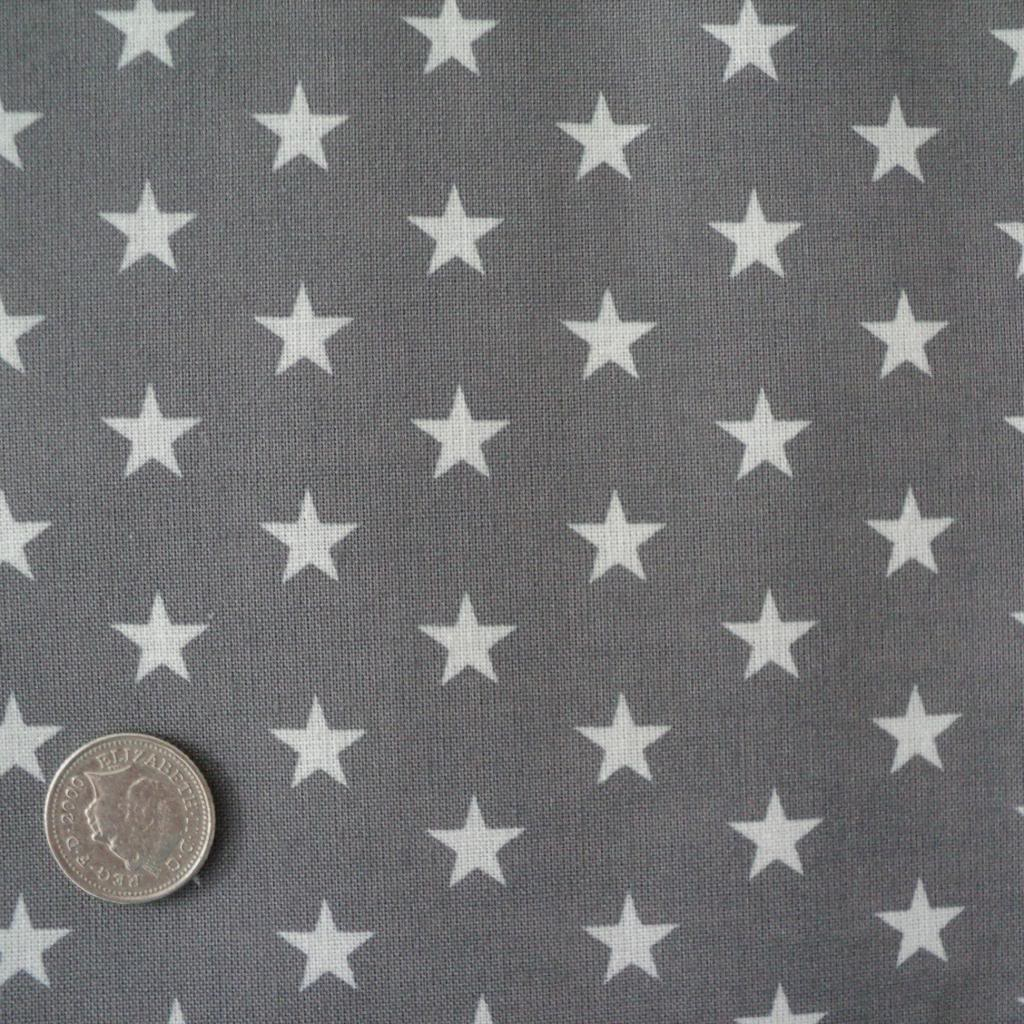 Stars grey and white cotton fabric by the metre ex wide for Boys cotton fabric