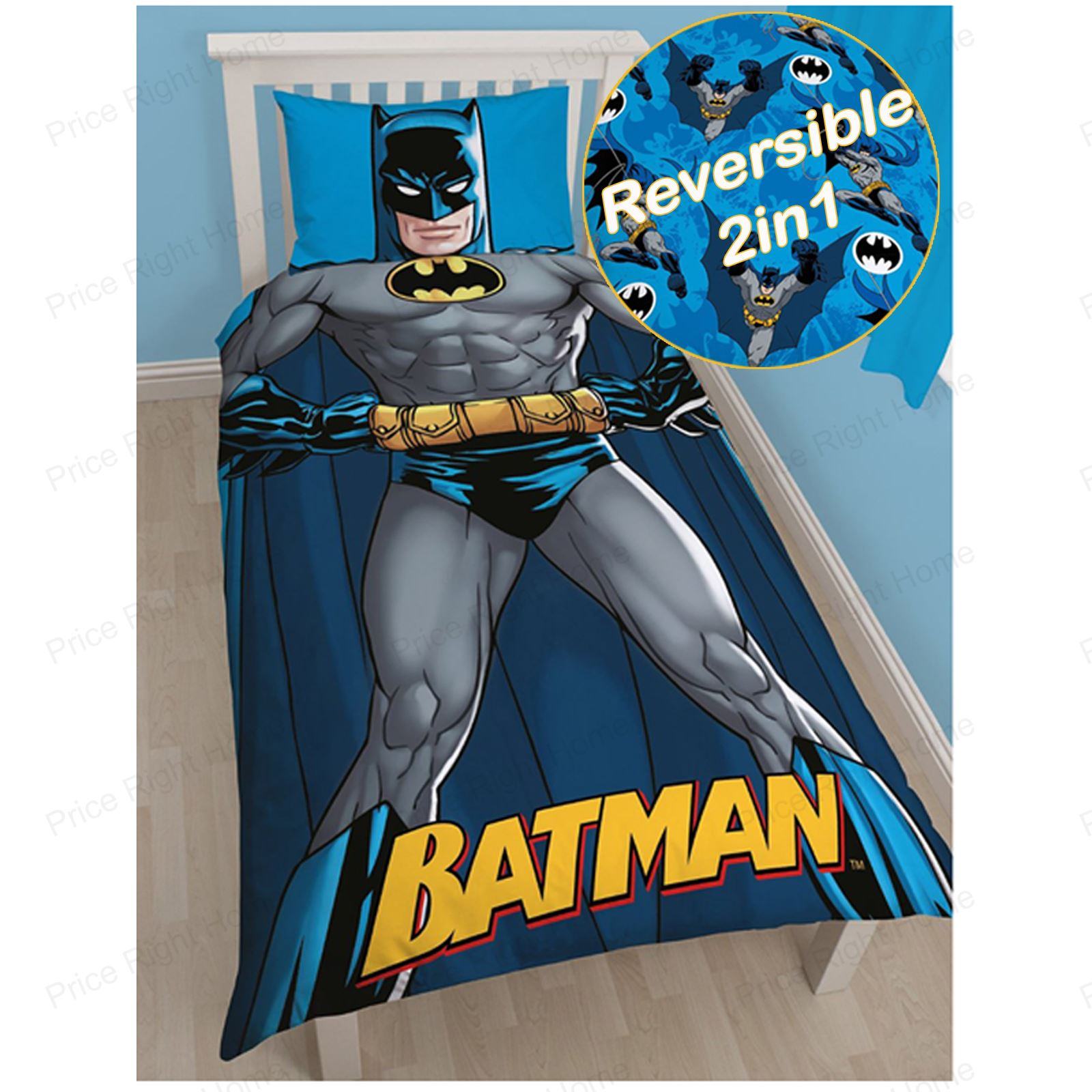 DC COMICS BATMAN & SUPERMAN DUVET COVER SET BEDDING KIDS BOYS ...
