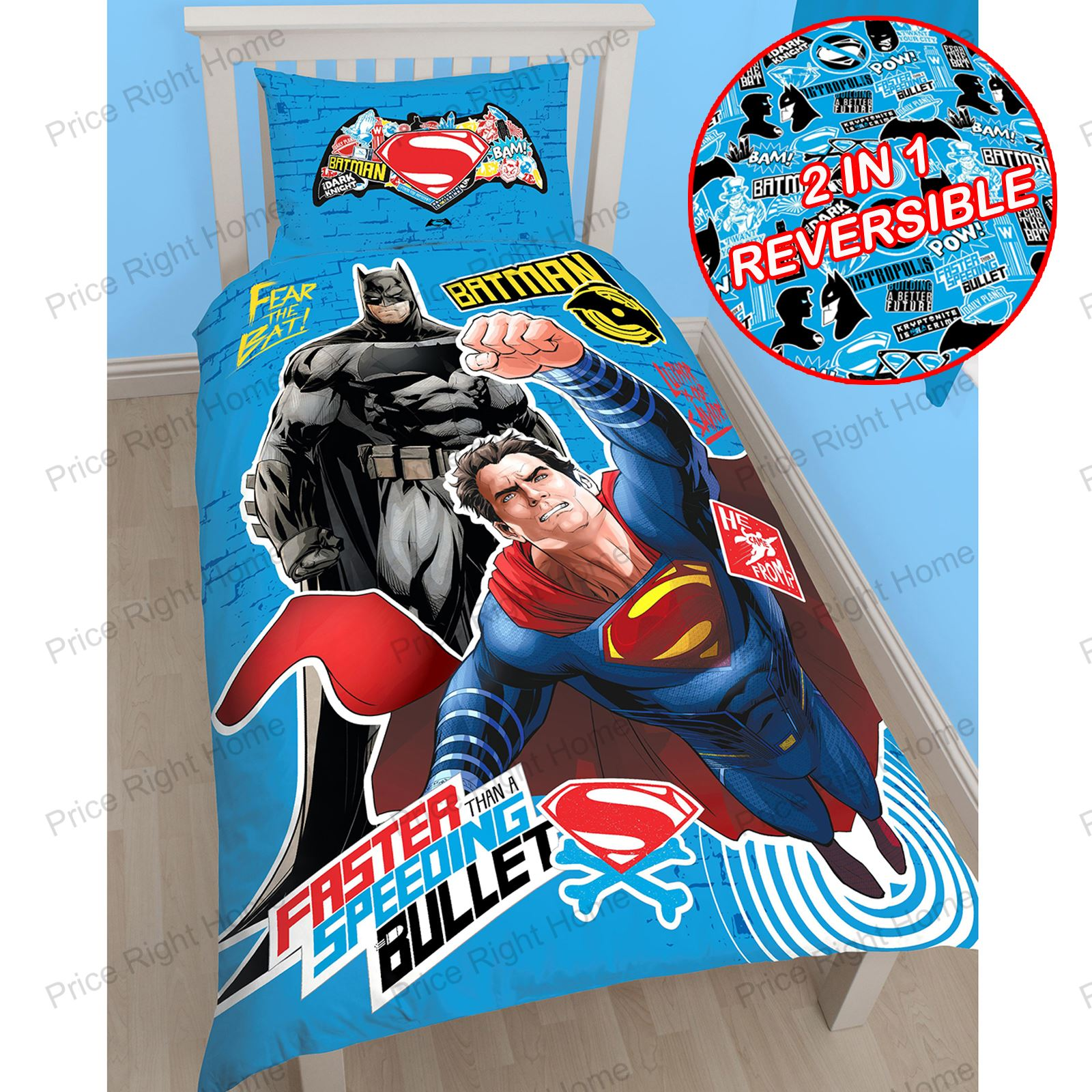 Kids Bedroom Bedding Dc Comics Batman Amp Superman Duvet Cover And Pillowcase Sets
