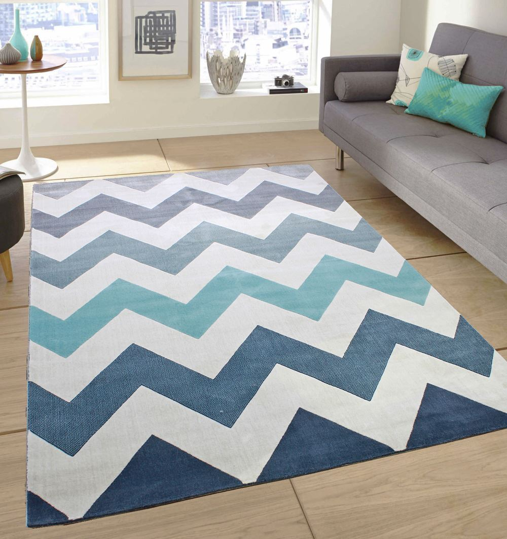 Black And White Extra Large Rug: Soft Touch Modern Stripes Zig Zag Flowers Cream Grey Teal