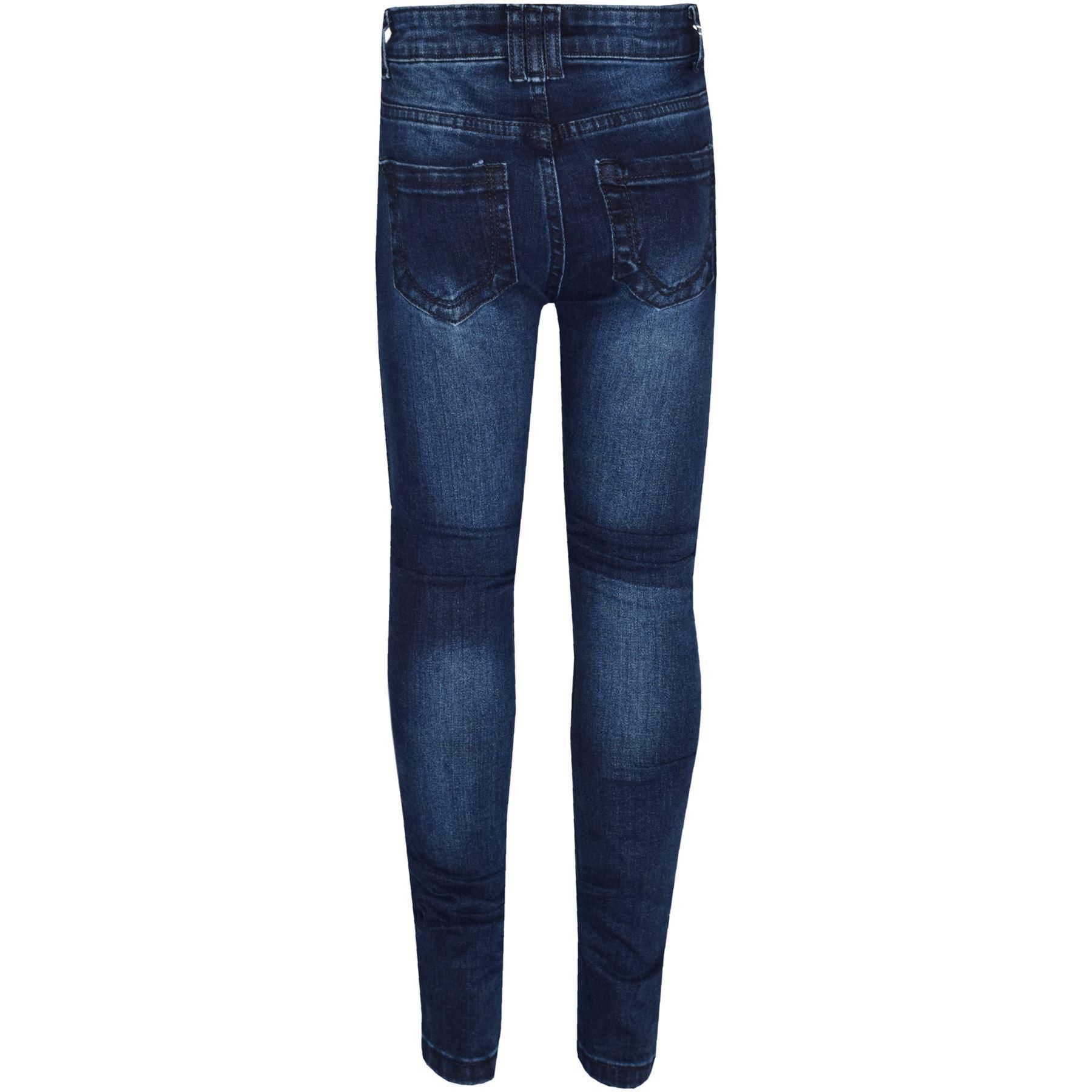 9886e402766 Niño Vaqueros Elásticos Azul Oscuro Denim Roto Pantalones Pitillos 5 ...
