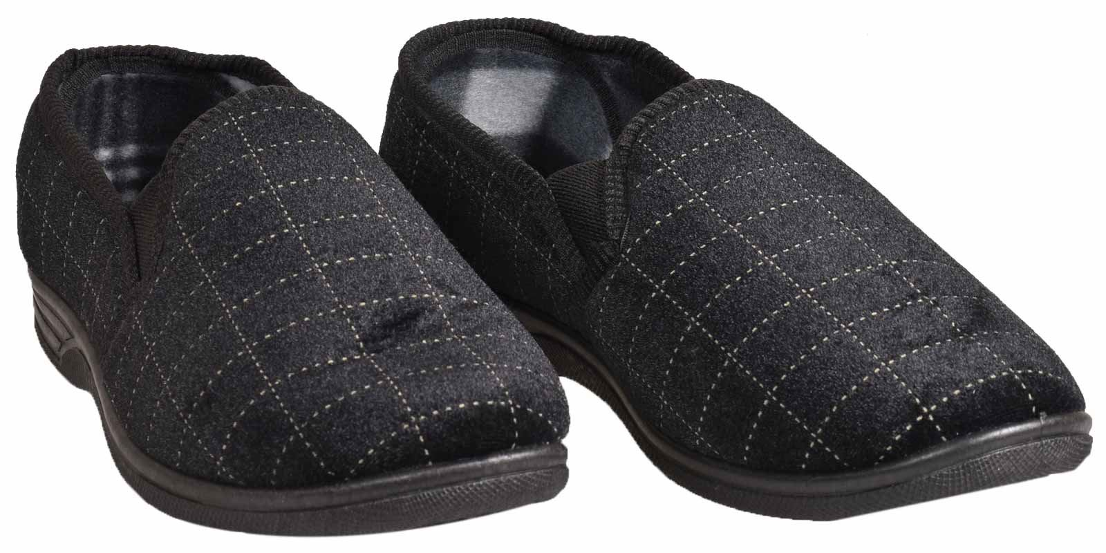 new mens slippers twin gussets check slip on bedroom
