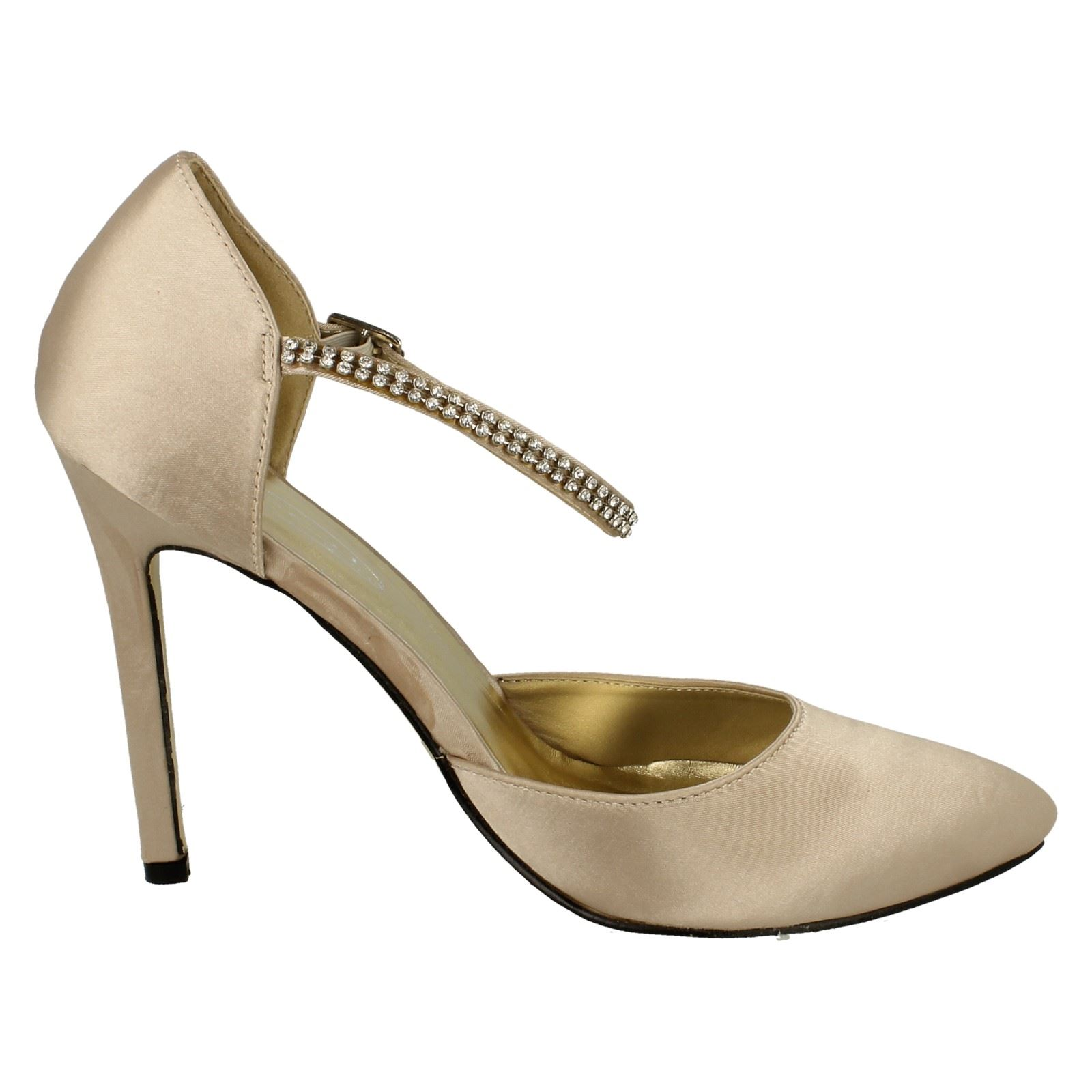 Ladies Anne Michelle Party Shoe With Diamante /'Ankle Strap/'