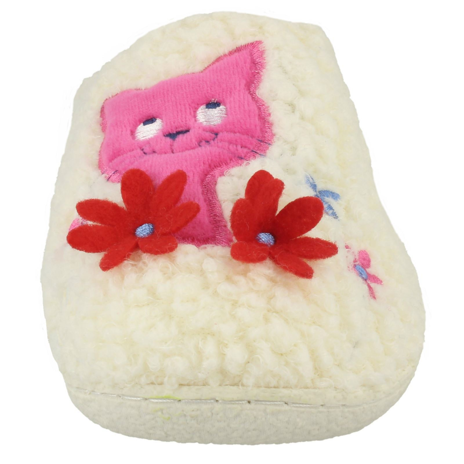 Ladies Jyoti Candice Cat Flower Mule Slipper Grey Or White UK Size 4,5 /& 6