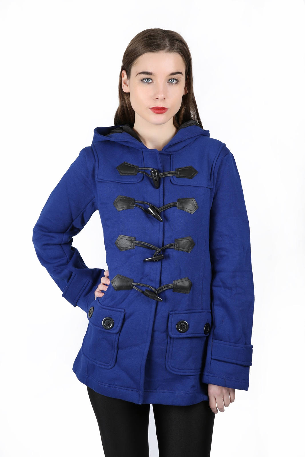 NEW LADIES HOODED DUFFLE COAT TRENCH POCKET WOMENS HOODED JACKET