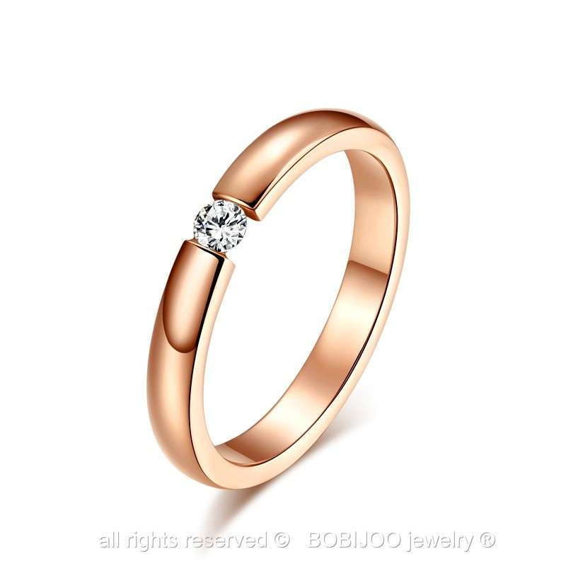 Solitario-Anillo-De-Boda-Anillo-Acero-Plateado-Rosa-Dorado-Compromiso-Matrimonio