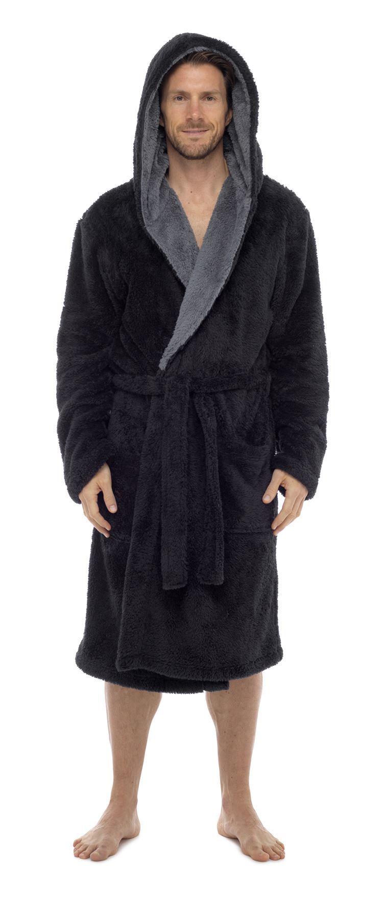 herren kuscheliges vlies robe luxus super weich mit kapuze bademantel m l xl ebay. Black Bedroom Furniture Sets. Home Design Ideas