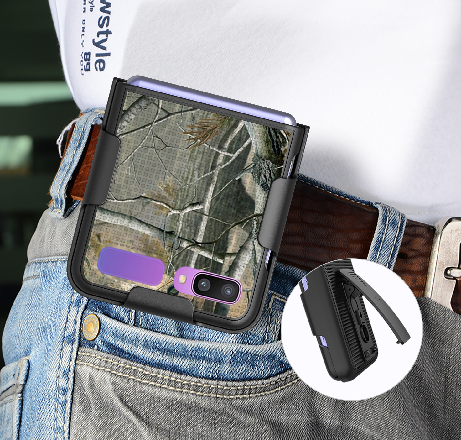 thumbnail 5 - Hard Protector Case Cover + Belt Clip Holster for Samsung Galaxy Z Flip 5G Phone