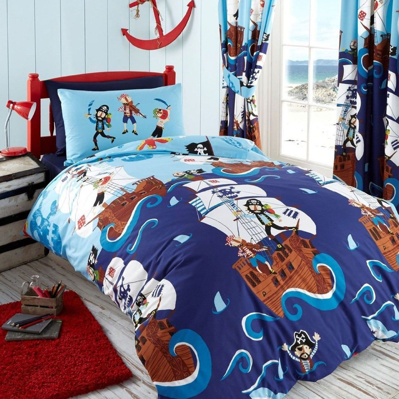 GARCONS-SET-HOUSSE-DE-COUETTE-SIMPLE-ARMEE-DINOSAURES-MINEURS-PIRATES-FOOTBALL
