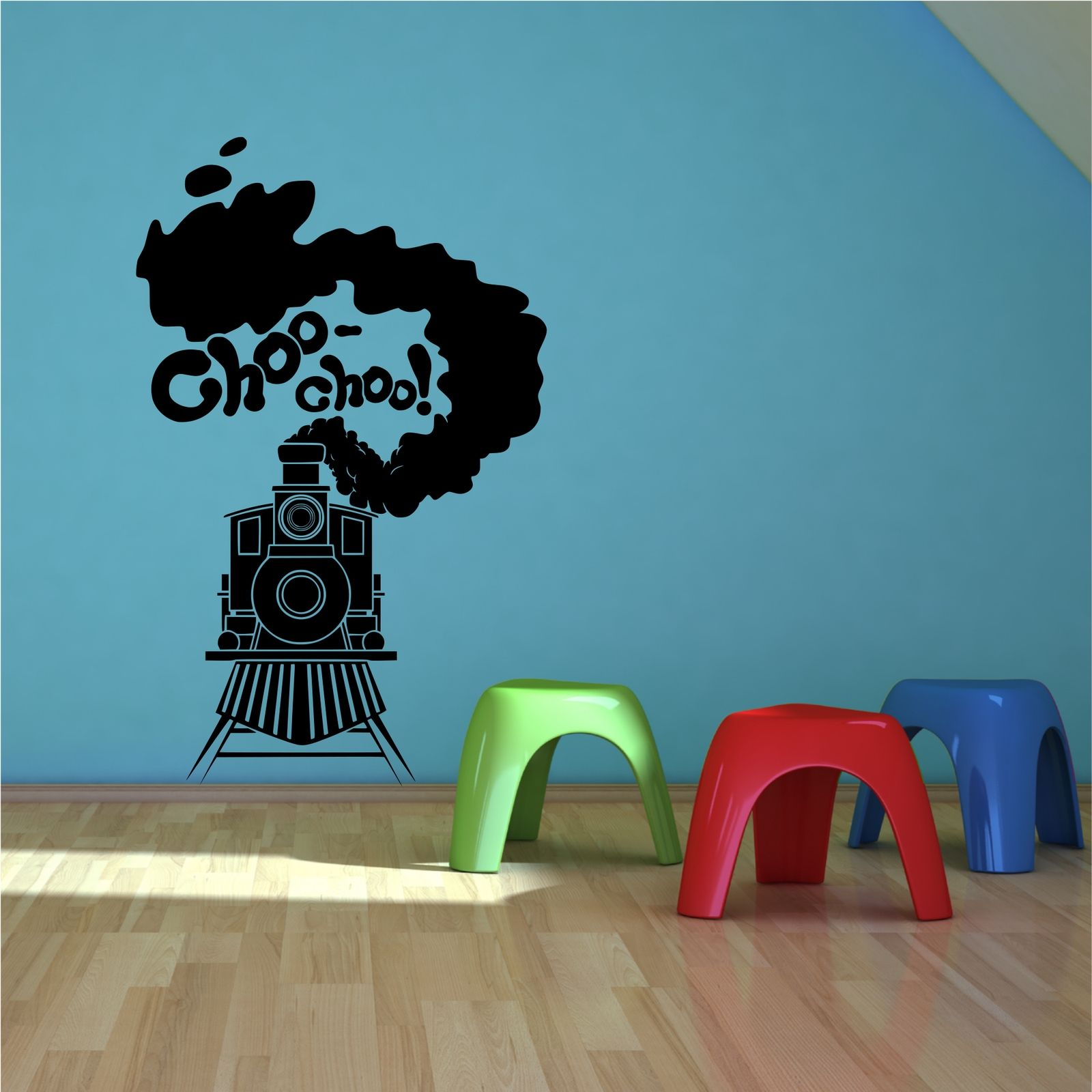 Steam Train Toy Track Boys Bedroom Wall Art