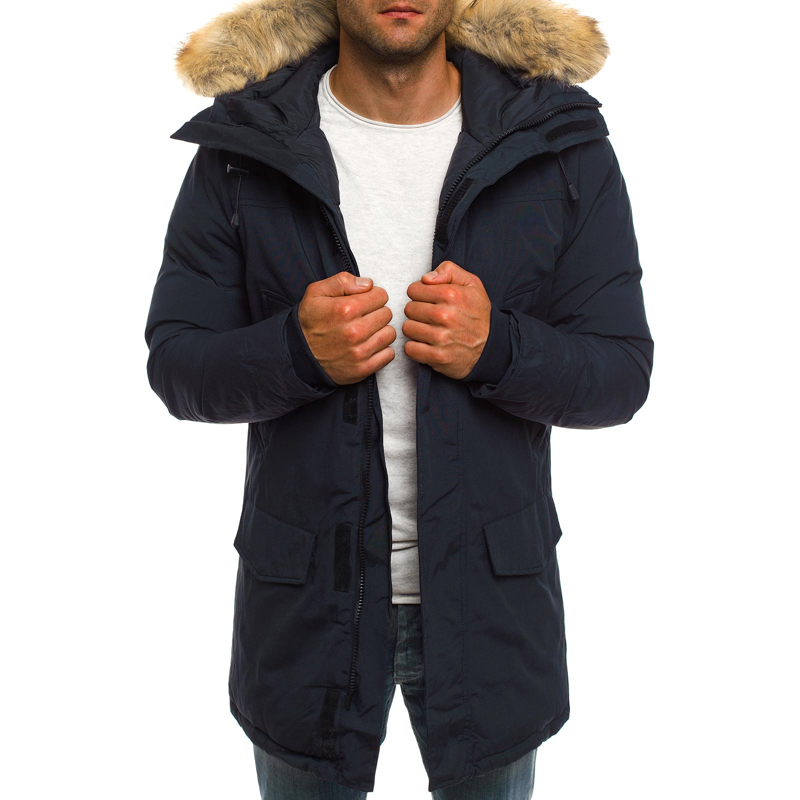 OZONEE J.STYLE Giacca Invernale Uomo Parka giacca sportiva cappotto ... ee0522ba394