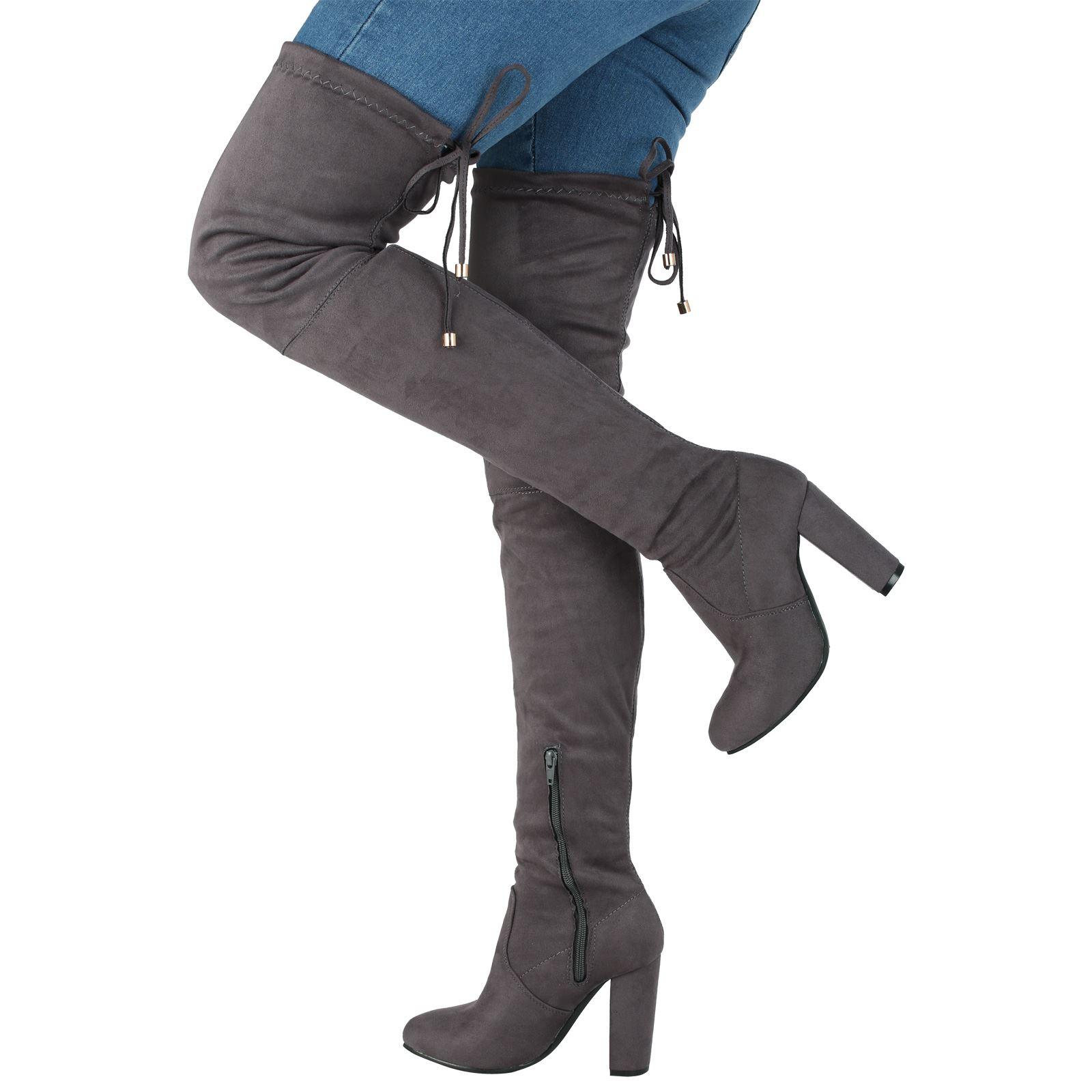 Jazz-Mujer-Medio-Alto-Tacon-en-bloque-POR-ENCIMA-DE-RODILLA-Corbata-arriba-Botas