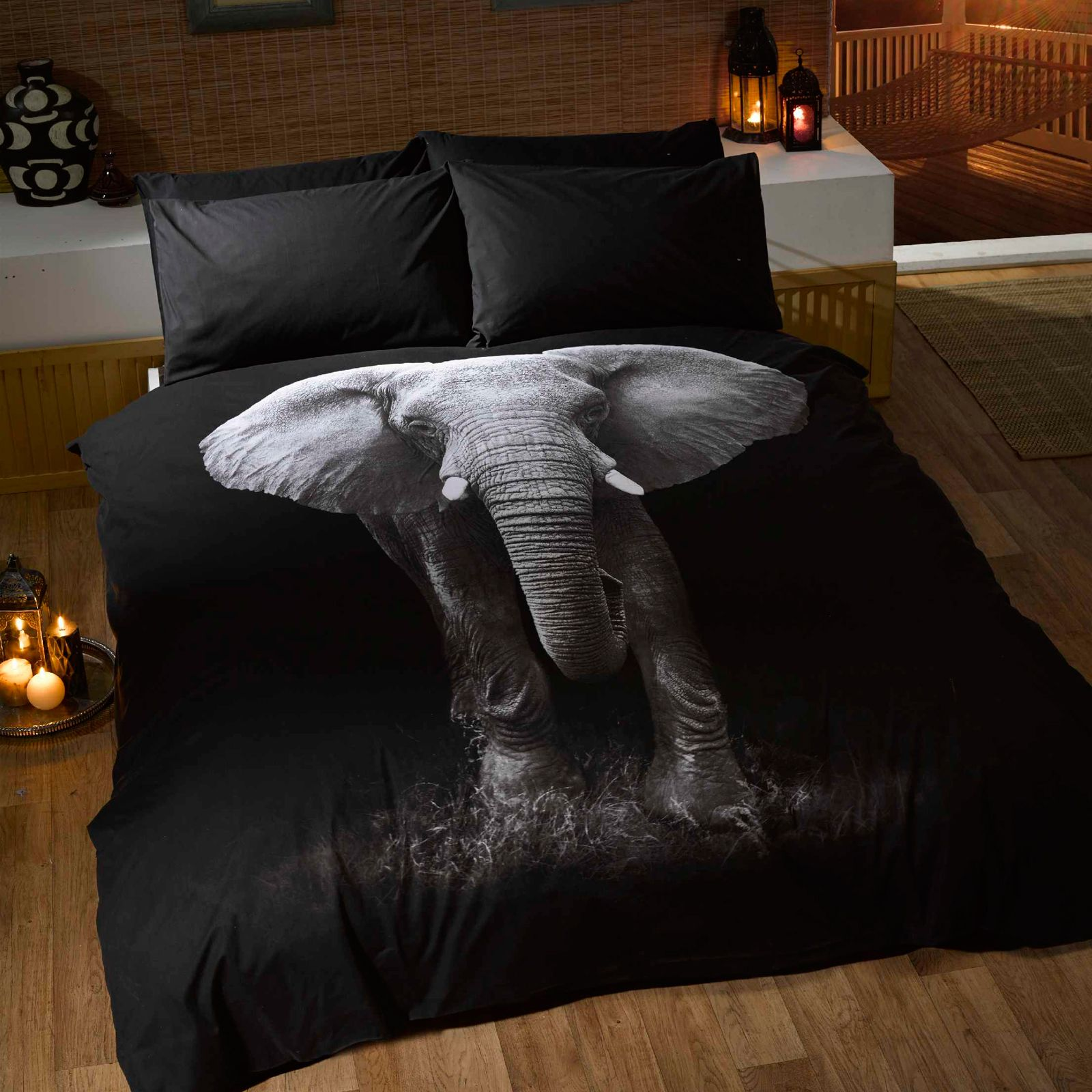 animaux photo housse de couette ensembles husky tigre ours cerf simple ebay. Black Bedroom Furniture Sets. Home Design Ideas