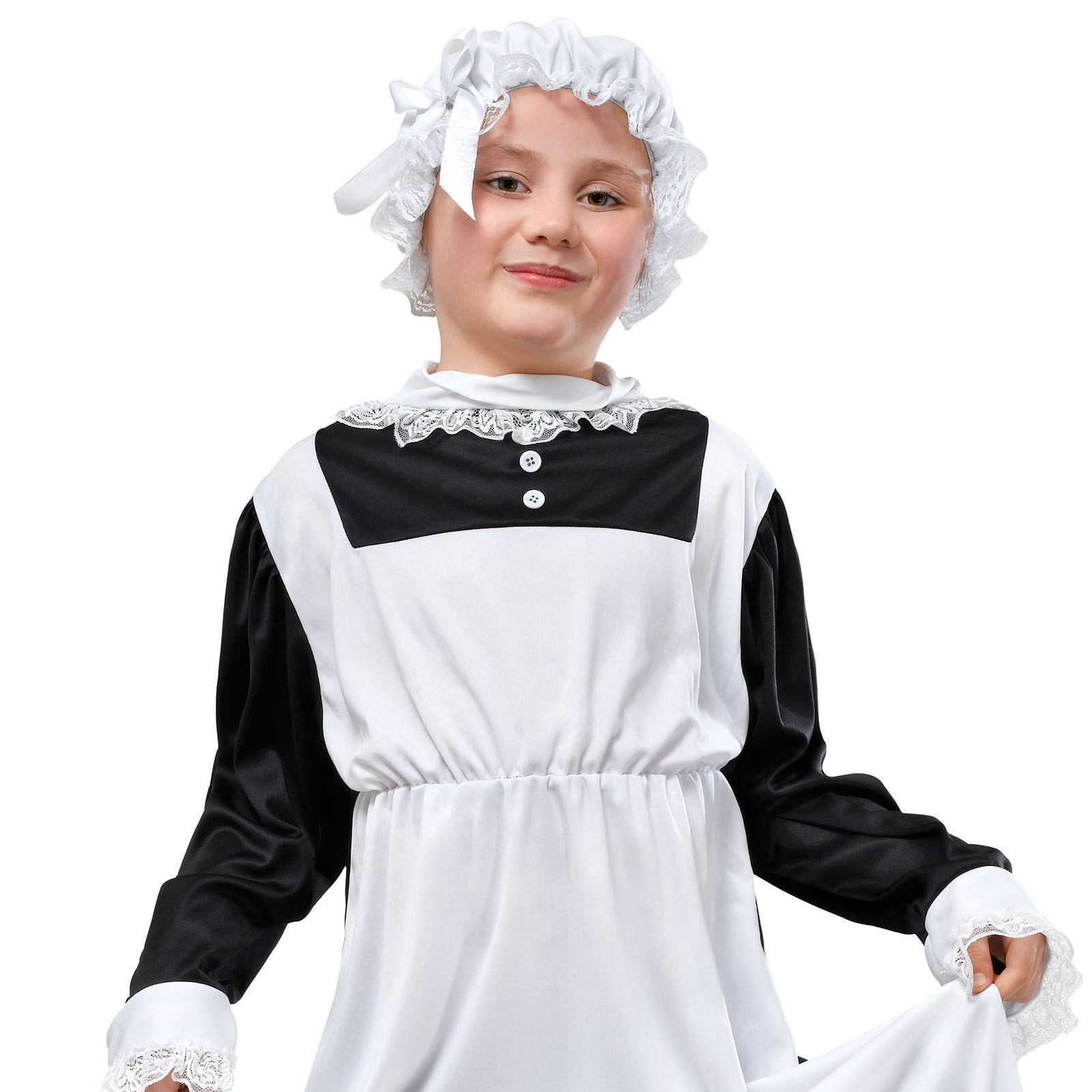 Childs Victorian Maid Fancy Dress Book Week Costume Historic Servant Old Fashion