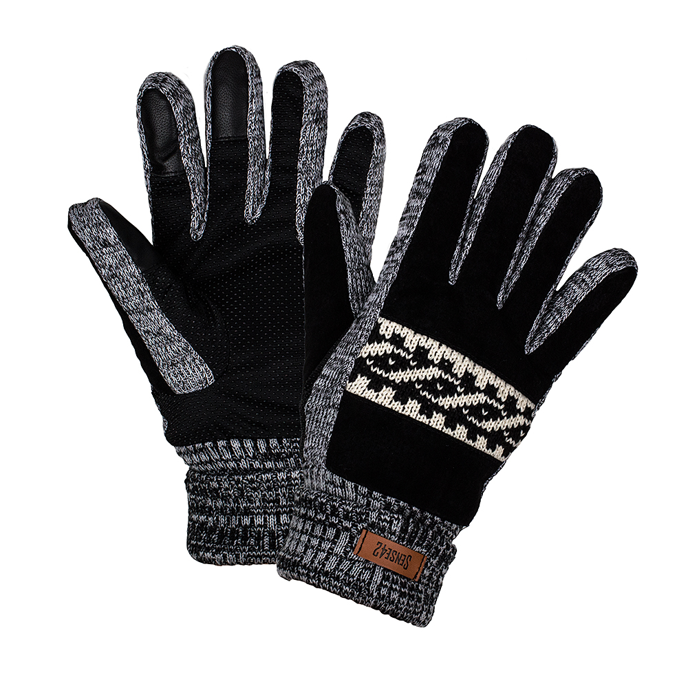 Sense42-Winter-gloves-Touchscreen-Norwegian-pattern-Spiral-Mottled-M-L-amp-L-XL