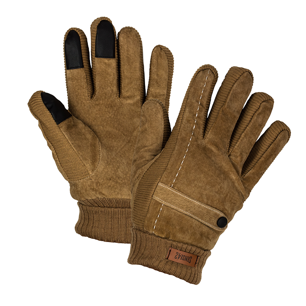 Sense42-Winter-gloves-Touchscreen-Leather-trim-band-Faux-suede-M-L-amp-L-XL