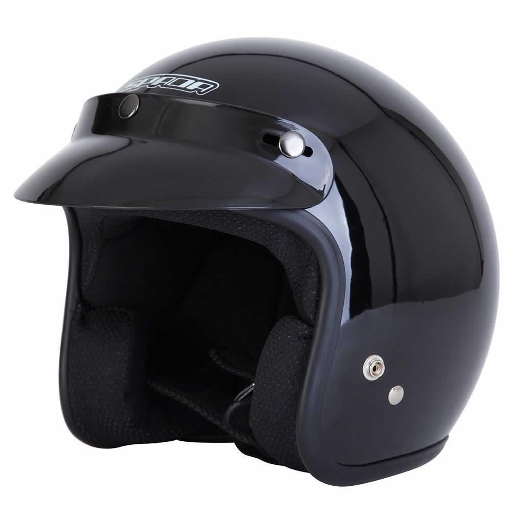 Spada-Casque-Moto-Jet-Ouvert-Noir-Brillant miniature 12
