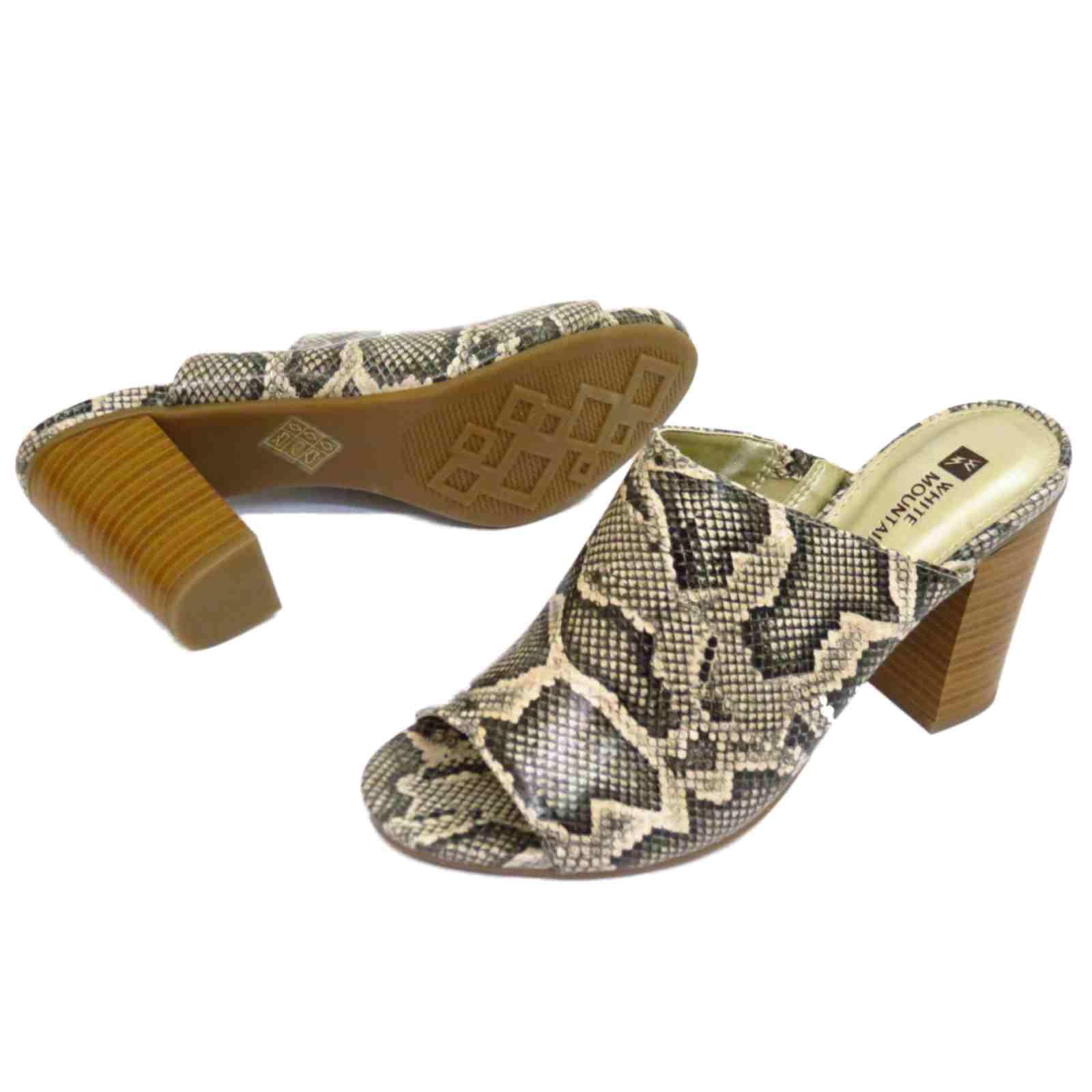 Mujer Serpiente Sin Cordones Zapatos Talón Punta Abierta Tacón De Bloque trabajo