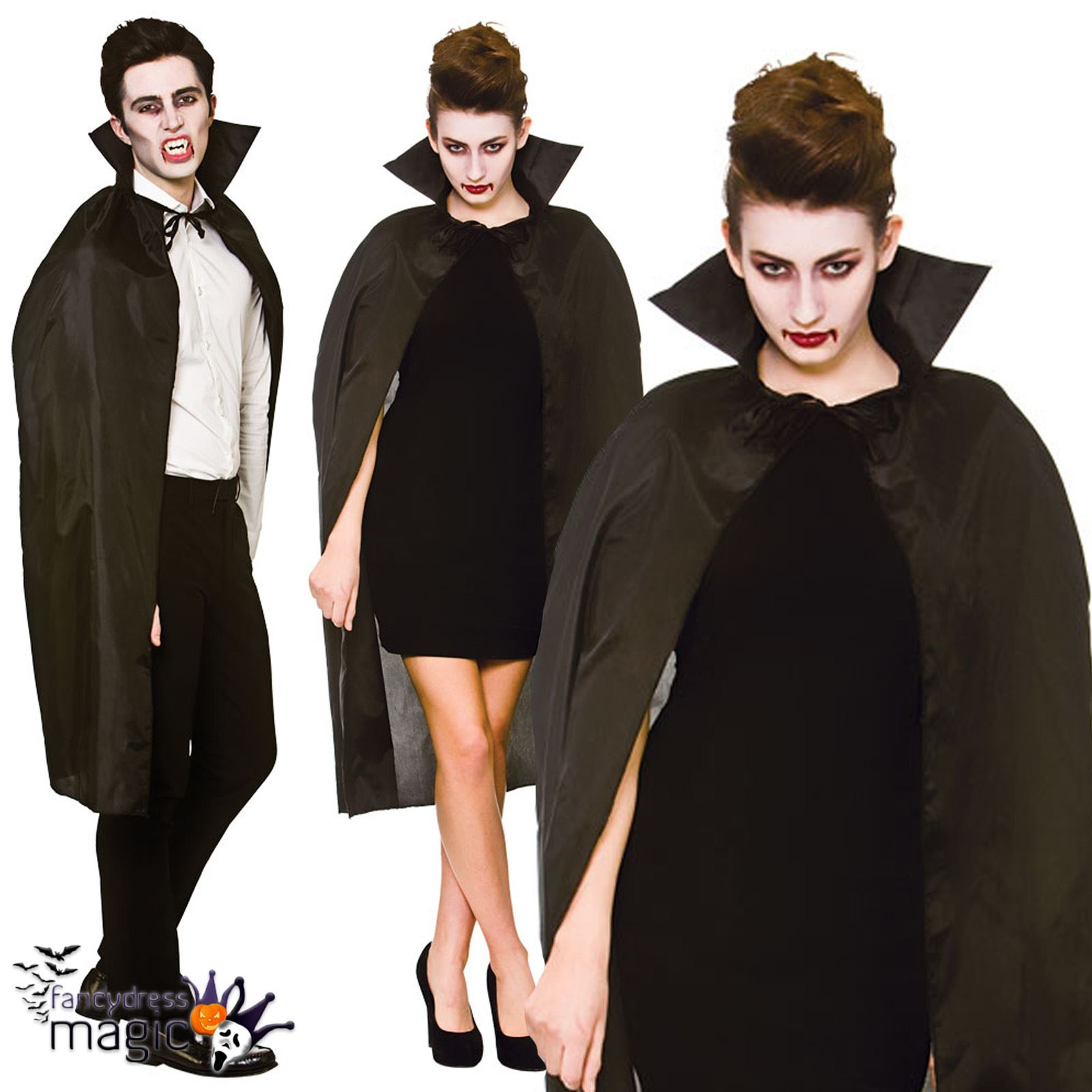 Adulto-Mujer-Hombre-Vampiro-Capa-cuello-Disfraz-Halloween-Disfraz-capa