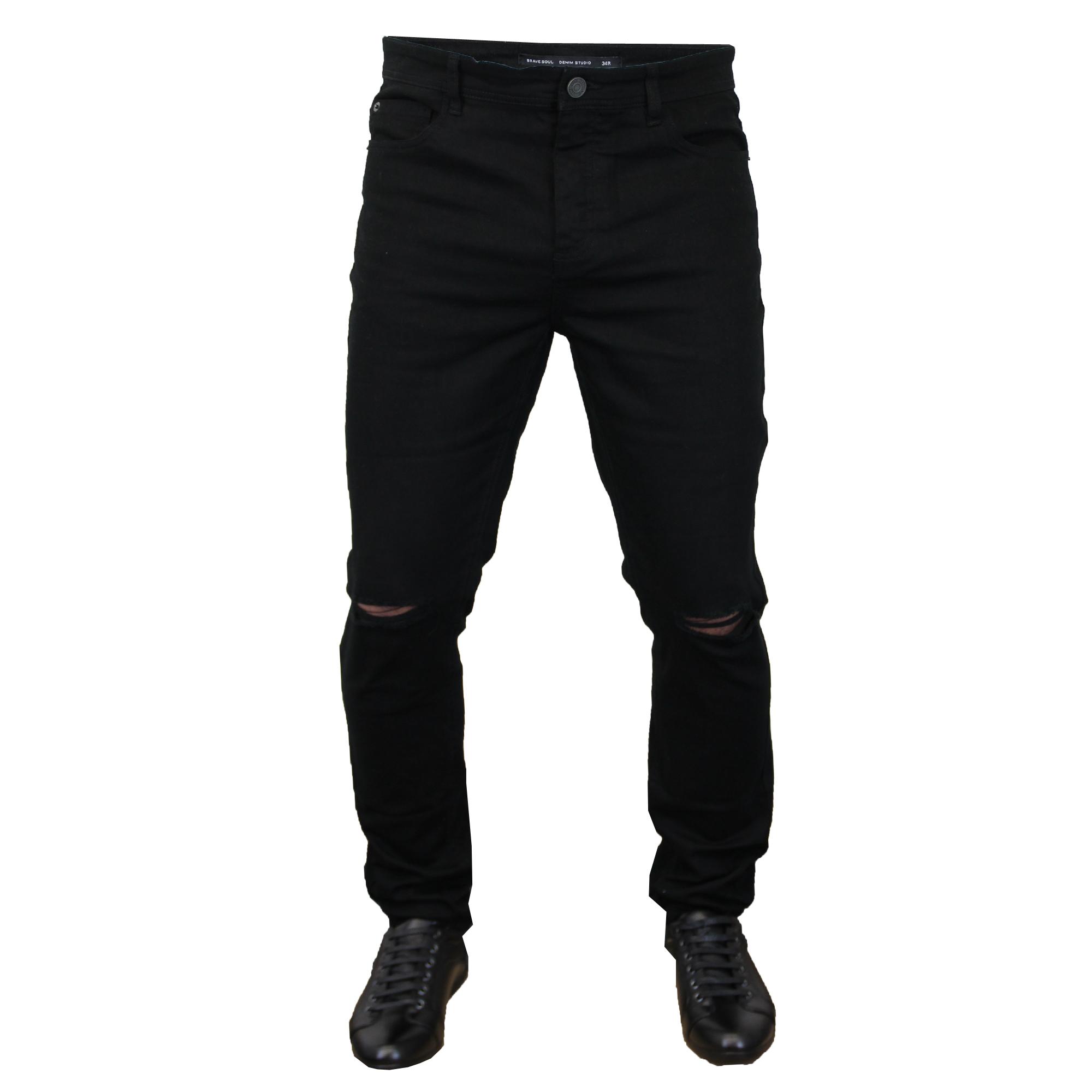 Hombre-Rasgado-Vaquero-Ajustado-Elastico-eastbornerip-Pantalones-Entallados