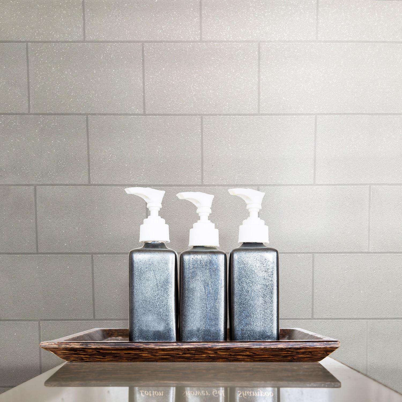 Crown London Tile Glitter Wallpaper White - M1054 Sparkle | eBay