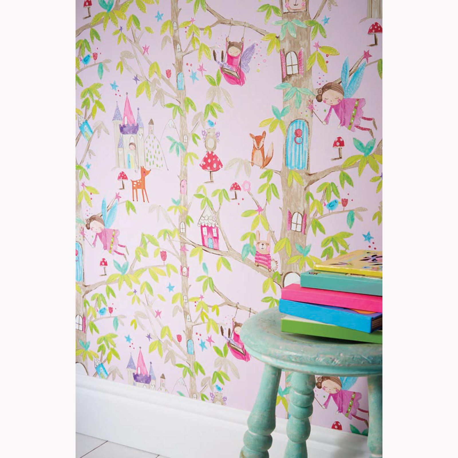 Superior ARTHOUSE GLITTER DETAIL KIDS GIRLS BEDROOM WALLPAPER FEATURE