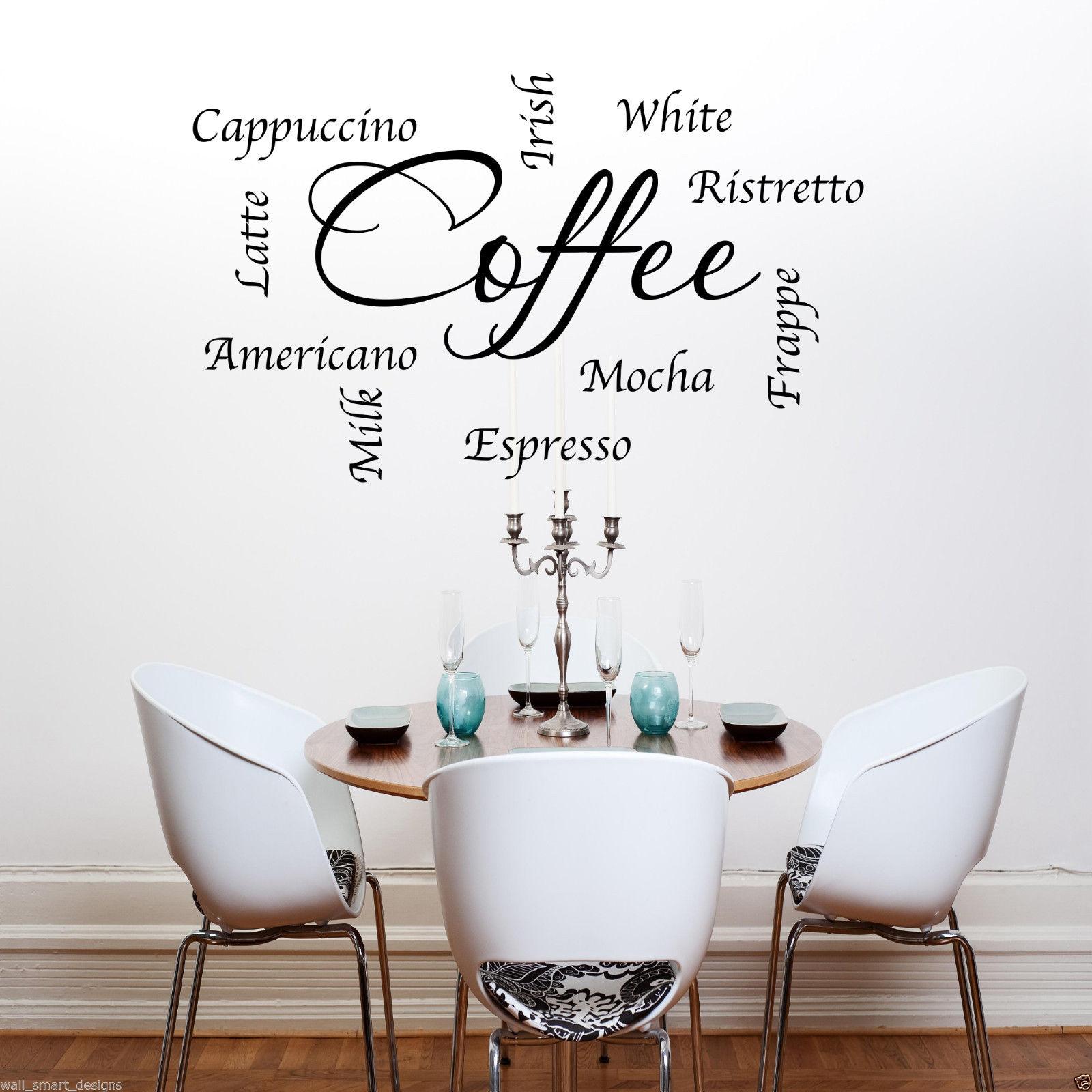 Caff parole frasi cucina adesivo artistico da parete for Murales per cucina
