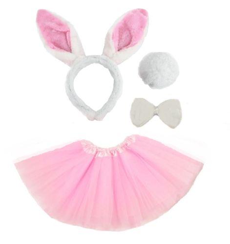 BAMBINI-ANIMALE-costume-Tutu-accessorio-festa-ragazze-ORECCHIE-FIOCCO-Coda-Set