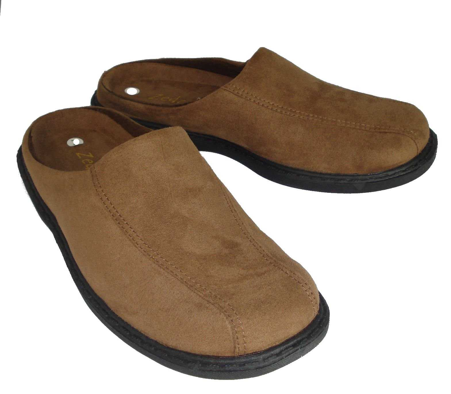 Mens Zedzzz Micro Suede Mules Slippers In Blue Or Brown ...