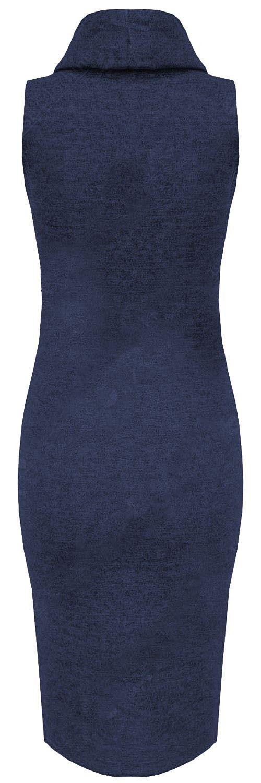 Neu-Damen-Rollkragen-Strick-Kleidung-Armelloses-Bodycon-Midi-Kleid-8-22