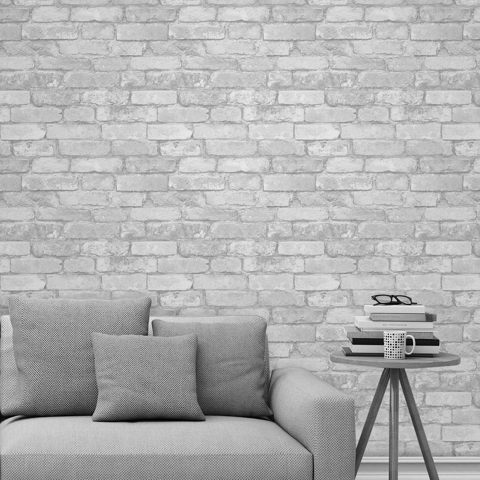 Blanco y plata r stico papel pintado efecto ladrillo fd41488 windsor ebay - Papel pintado ladrillo blanco ...