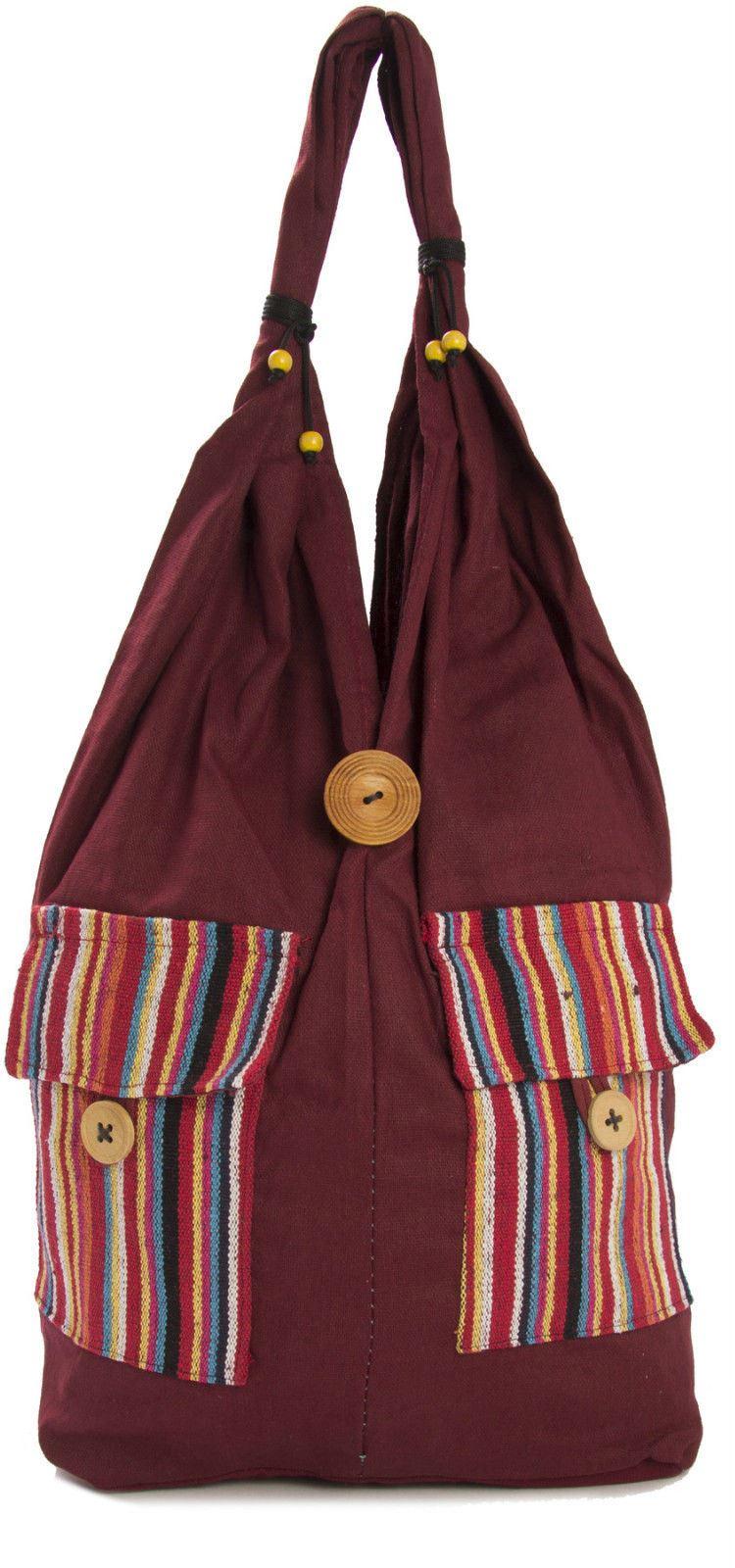 Big Handbag Shop Damen Baumwollgewebe Doppel-taschen Große Schultertasche